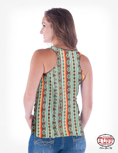 Tan And Coral Aztec Racerback Tank With Desert Graphic