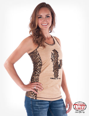 Cowgirl Tuff Tan And Leopard Print Racerback Tank With Leopard Cactus Graphic