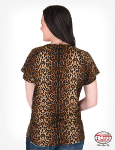 Tan And Leopard Print Short Sleeve Raglan Tee With Horse Print