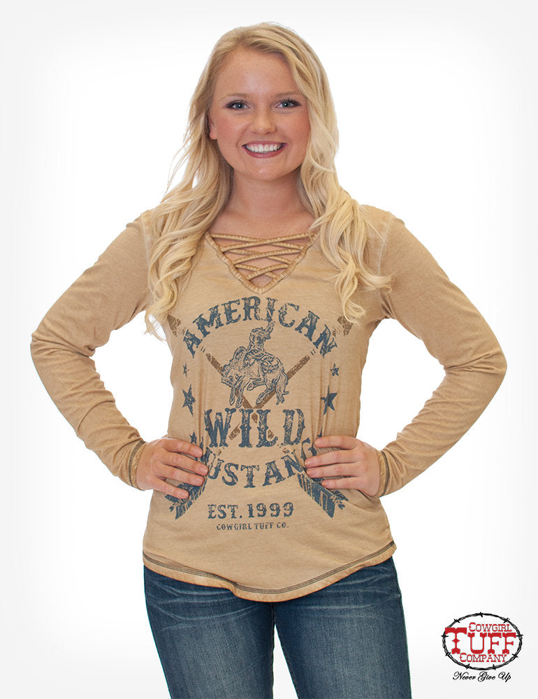 Tan Dirty Wash Long Sleeve Tee With Strappy V-Neck And Buckin' Horse Print