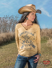 Cowgirl Tuff Tan Dirty Wash Long Sleeve Tee With Strappy V-Neck And Buckin' Horse Print