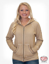 Tan Dirty Wash Zip Hoodie With Studded Never Give Up™ Sleeve Print And Studs