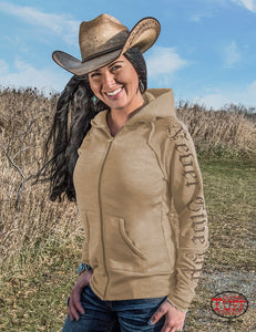 Cowgirl Tuff Tan Dirty Wash Zip Hoodie With Studded Never Give Up™ Sleeve Print