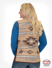 Tan Reversible Vest W/ Stretch Side Panels, Branded Embroidery, & Inside Aztec Print