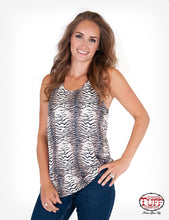 "Cowgirl Tuff Tiger Print Flowy Tank With ""Fierce"" Print On Back"