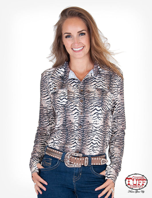 Cowgirl Tuff Tiger Print Sport Jersey Pullover Button-Up