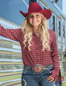 Cowgirl Tuff Red Sport Eyelet Jersey Faux Button-Down Pullover