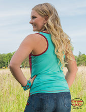 Turquoise And Red Lux Athletic Racerback Tank With Cactus Patch