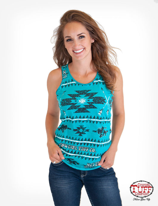 Cowgirl Tuff Turquoise Aztec Print Racerback Tank With Cowgirl Tuff Co. Never Give Up® Slogan