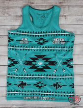Turquoise Aztec Print Racerback Tank With Cowgirl Tuff Co. Never Give Up® Slogan