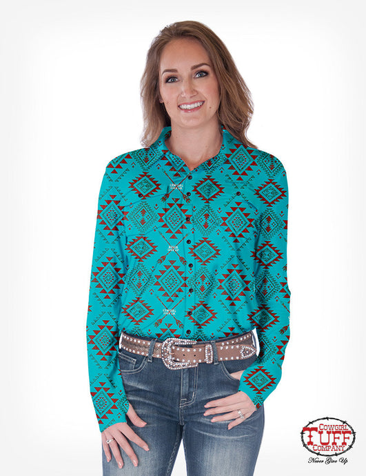 Cowgirl Tuff Turquoise Aztec Sport Jersey Pullover Button Up