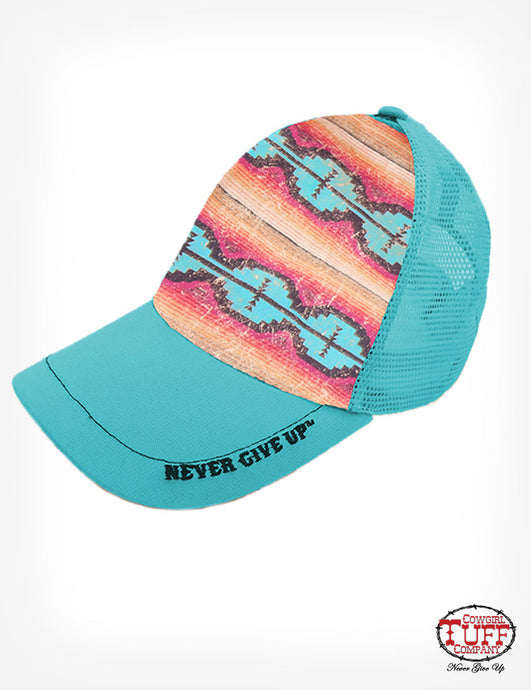 Cowgirl Tuff Turquoise/Coral And Turquoise Aztec Cap