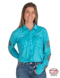 Cowgirl Tuff Turquoise Overdyed Garment-Wash Jersey Button-Up Pullover W-Earthtone Print Sleeves