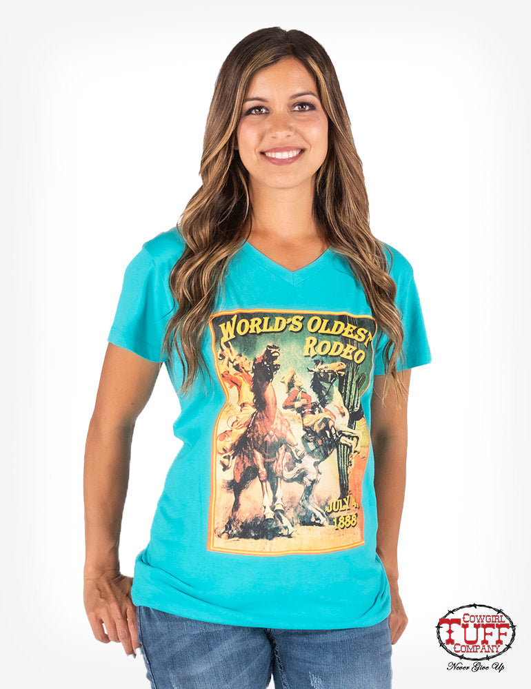 Cowgirl Tuff Turquoise Short-Sleeve V-Neck Tee With Shredded Back Detail And Vintage Rodeo Poster Print