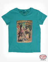 Turquoise Short-Sleeve V-Neck Tee With Shredded Back Detail And Vintage Rodeo Poster Print