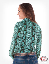 Turquoise Snakeskin Print Sport Jersey Pullover Button-Up