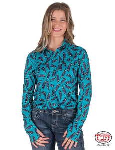 Cowgirl Tuff Turquoise Sport Jersey Pullover Button-Up With All-Over Feather Print