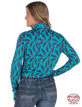 Turquoise Sport Jersey Pullover Button-Up With All-Over Feather Print