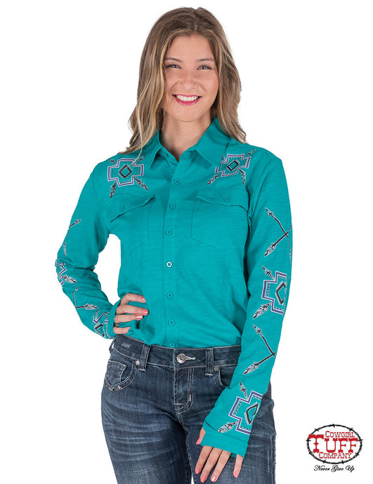 Cowgirl Tuff Turquoise Sport Jersey Pullover Button-Up With Purple, Black And White Graphics