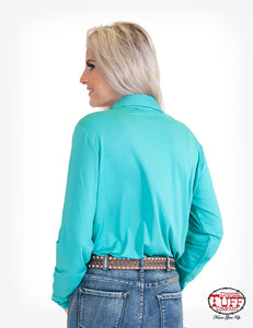 Turquoise Sport Jersey Pullover Button-Up