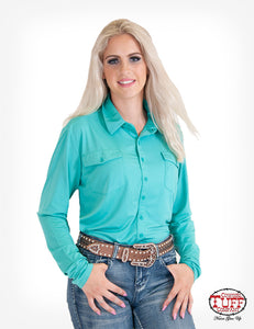 Cowgirl Tuff Turquoise Sport Jersey Pullover Button Up