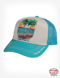 Cowgirl Tuff Turquoise Trucker Cap With Beach Scene On Cream Panel