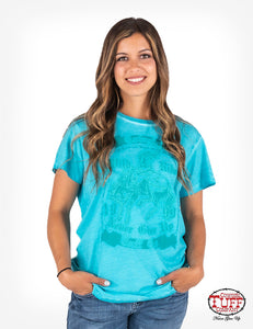 Cowgirl Tuff Turquoise V-Neck Short Sleeve Overdyed Tee W/ CTC Never Give Up® Buckin' Bronco Graphic