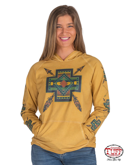 Cowgirl Tuff Vintage Gold Garment Wash Hooded Pullover With Earth Tone Graphic Print