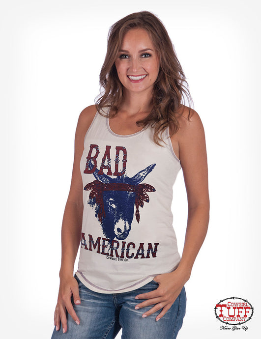 Cowgirl Tuff Cream And Blue Bandana Racerback Tank With Bad*** Print