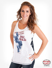 White Flowy Tank With Dark Blue And Star Print Back Panel And Donkey Graphic