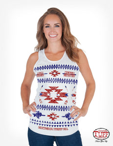 Cowgirl Tuff White With Blue And Red Aztec Print Racerback Tank