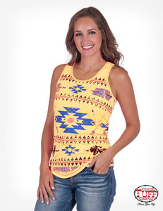 Cowgirl Tuff Yellow Lux Athletic Racerback Tank With Aztec Print