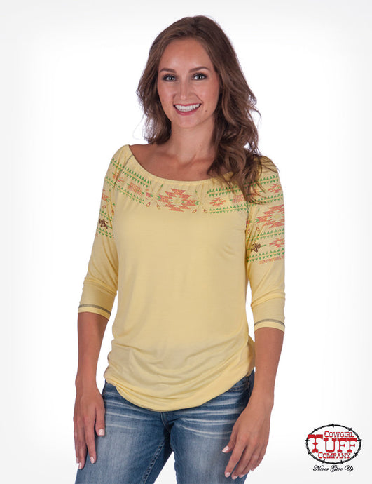 Yellow Raglan Jersey Blouse With Aztec Embroidery