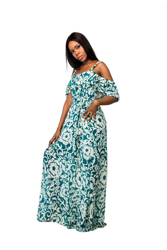 Cold Shoulder Floral Print Maxi