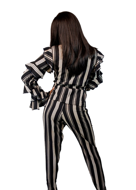 Stripe Slit-Seam Pant