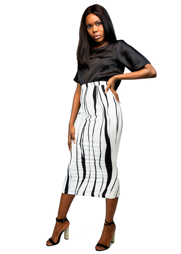 Monochrome Midi Skirt