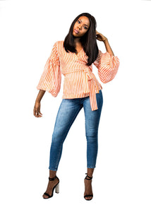 Stripe Bubble Sleeve Wrap Top