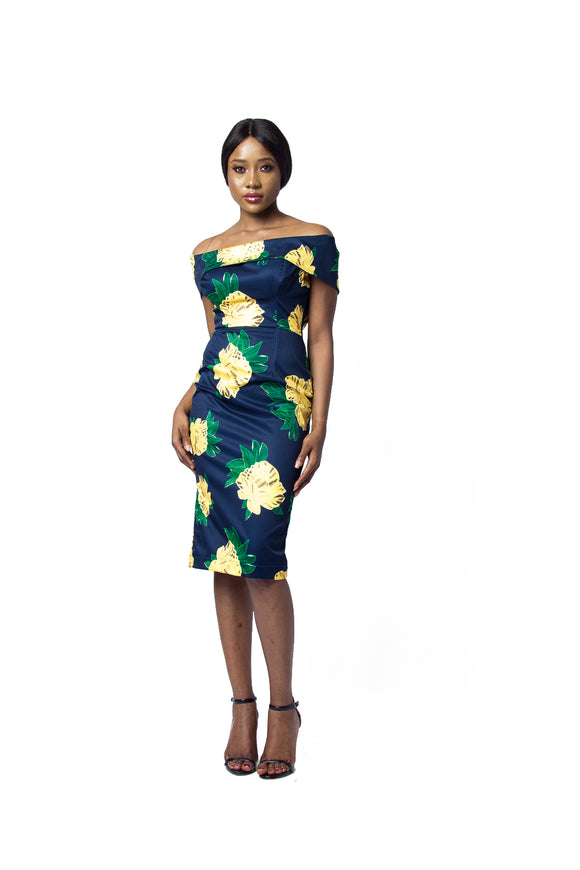 Off Shoulder Lemon Print Midi Dress