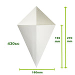 CCWL2 - Crepe Cones White (500 per box)160x175/250mm