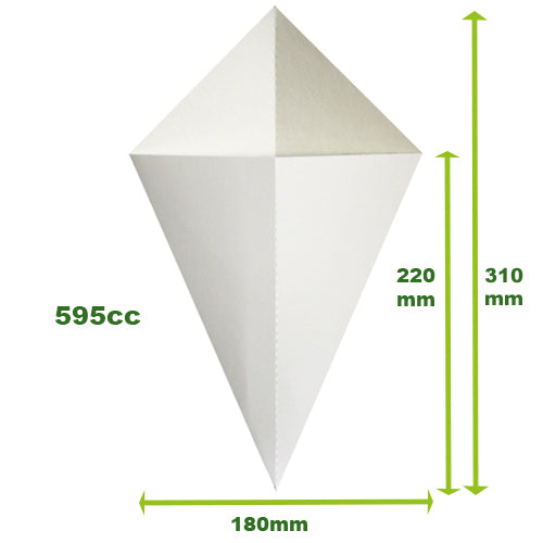 BULK BUY BULKCCWL3/6 Crepe Cones White (6 x 500) - Was: €240.00, NOW: €225.00. Save: €15.00