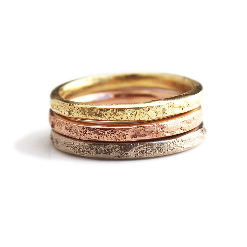 2mm Silk Textured Ring, 18k Yellow Gold