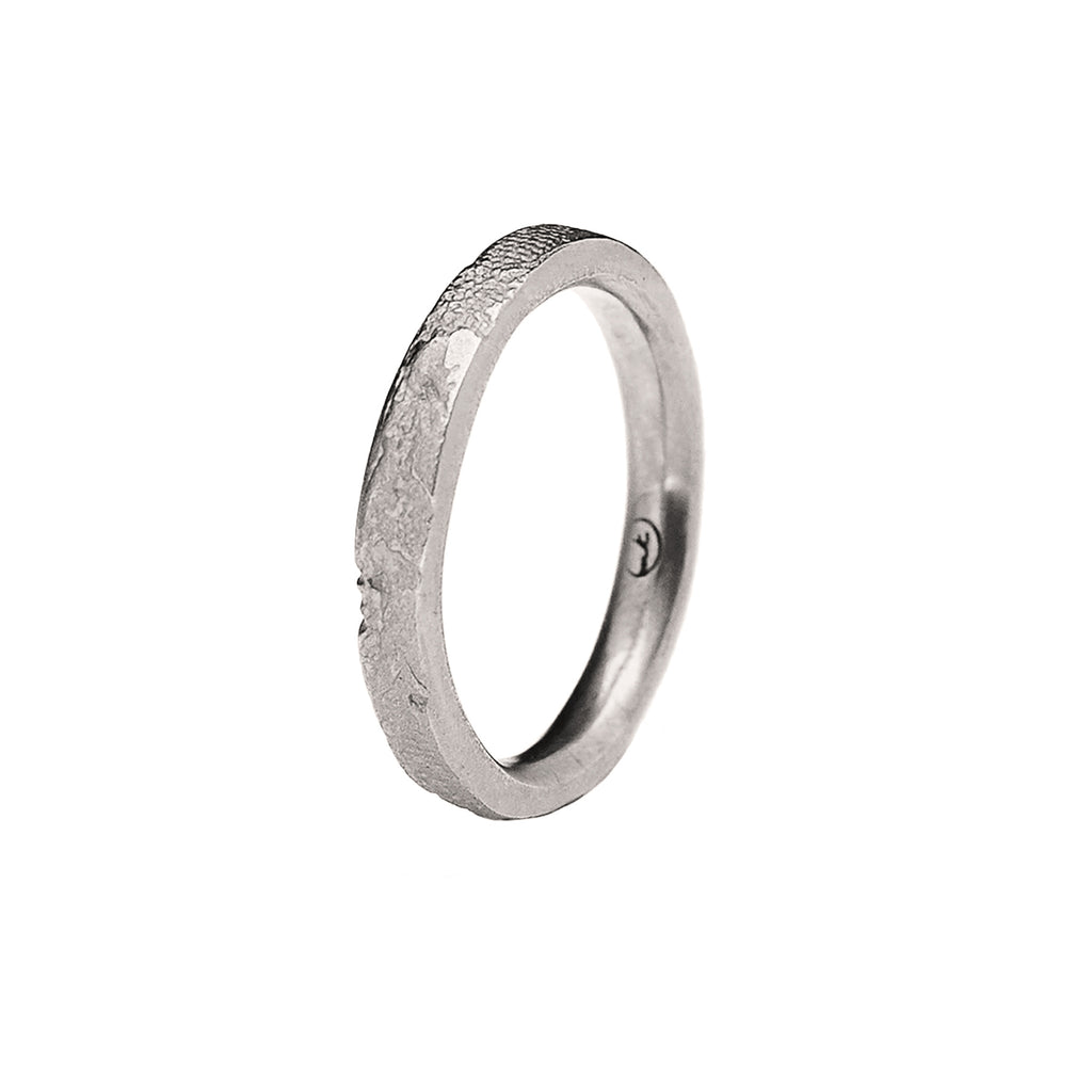 3mm Silk Textured Ring, 14k Palladium White Gold