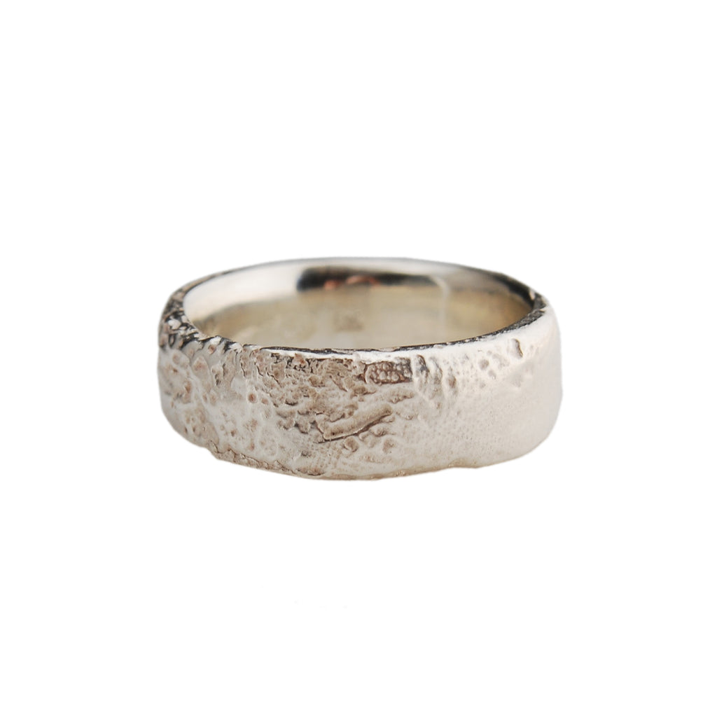 7.6mm Silk Textured Ring, Sterling Silver