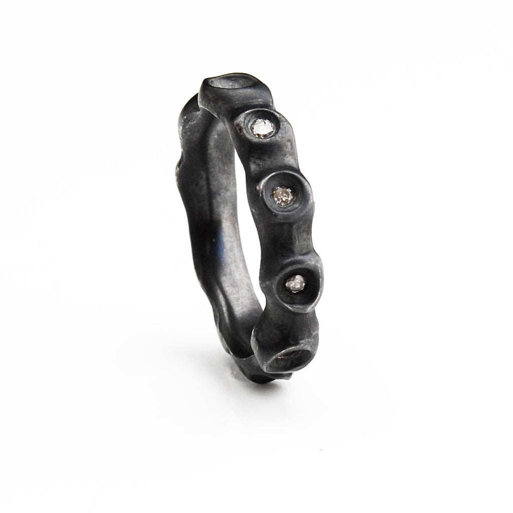 Barnacle Ring -Oxidized Silver and Grey Diamond