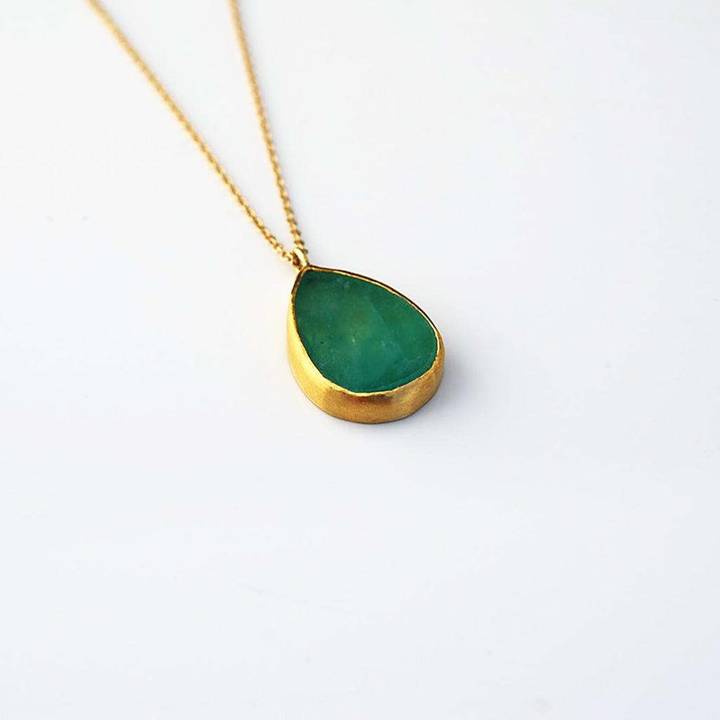 Teardrop Emerald Slab pendant