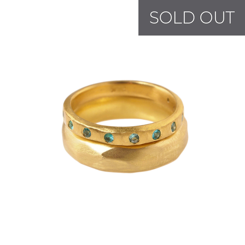 Faceted Gold Band & Tourmaline Wedding Band