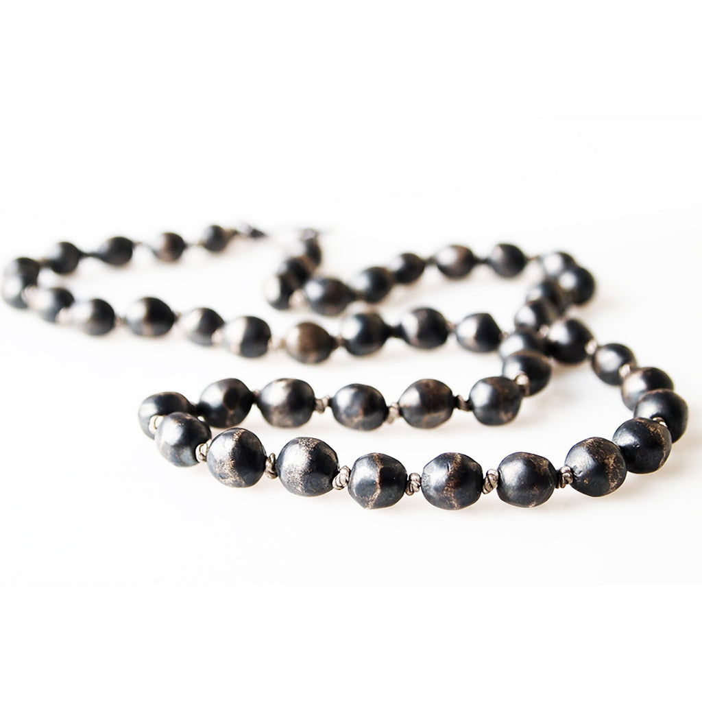 Oxidized Silver Heavy Pearls & Silk