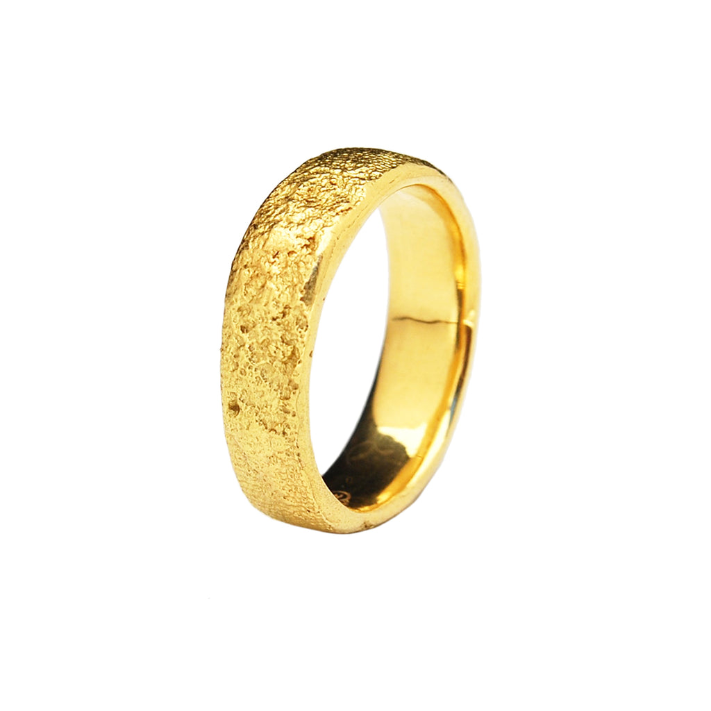 5mm Flat Silk Textured Ring, 18k Yellow Gold