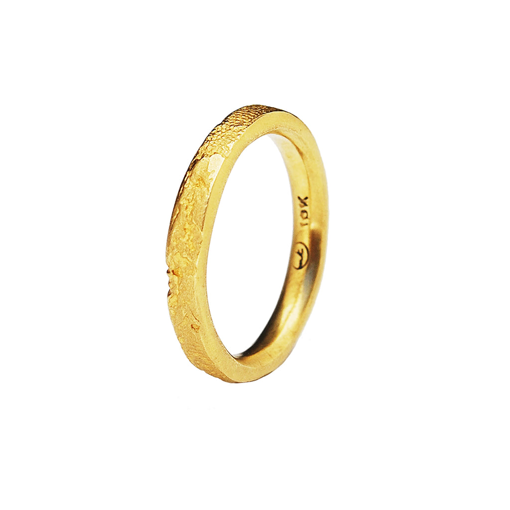 3mm Silk Textured Ring, 18k Yellow Gold