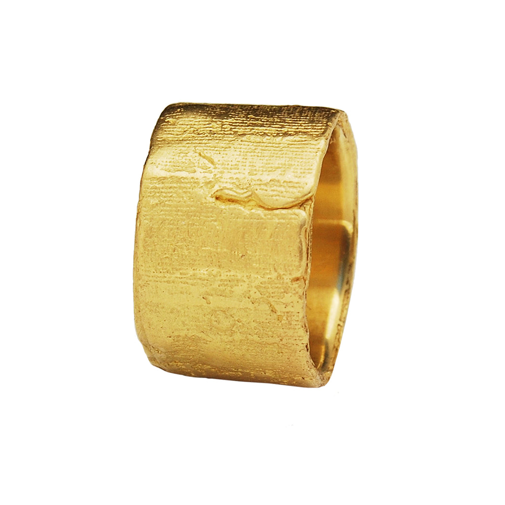 Extra Wide Silk Textured Ring, 18k Yellow Gold